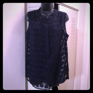 J. Crew Navy Floral Sheer Blouse and Cami